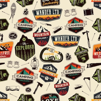 Camping adventure seamless pattern with outdoor explorer patches and hiking symbols icons. stock vector unusual background wallpaper.