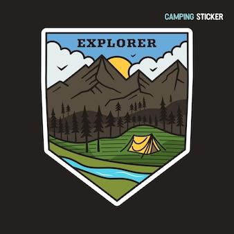 Дизайн наклейки для кемпинга. эмблема рисованной путешествия