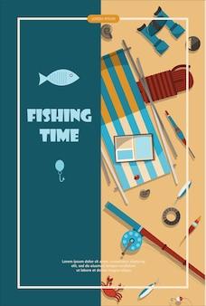 하이킹 만화 flayer 물고기에 대 한 평면 장비와 캠핑 모험 시간 벡터 일러스트 레이 션 배너...