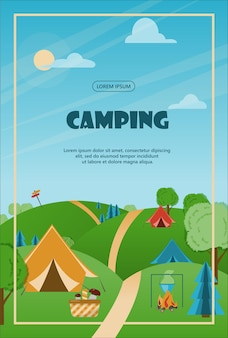 Camping adventure time vector illustration banner with flat equipment for hiking cartoon flayer