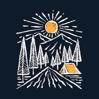 Кемпинг приключение с красотой природы и восходом солнца графическая иллюстрация арт дизайн футболки