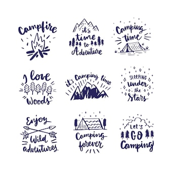 Camping & adventures lettering collection