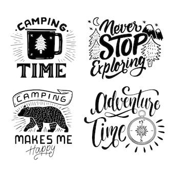Collezione di scritte in campeggio e avventure