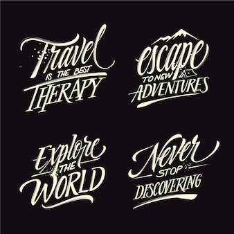 Camping and adventures lettering collection