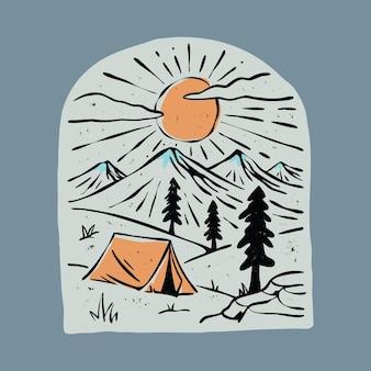Кемпинг и красивый восход солнца графическая иллюстрация векторной графики дизайн футболки