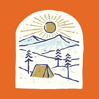 Кемпинг и красивый восход солнца с рекой графическая иллюстрация векторной графики дизайн футболки
