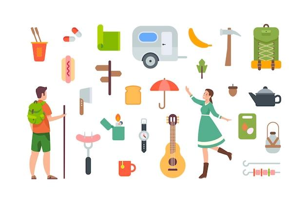 캠핑 및 하이킹 요소. 야외 모험을 위한 관광 장비 및 여행 액세서리. 흰색 바탕에 평면 벡터 개체입니다. 캐러밴, 배낭, 기타, 도구, 식품, 라이터