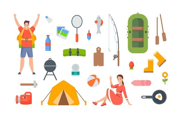 캠핑 및 하이킹 요소. 야외 모험을 위한 관광 장비 및 여행 액세서리. 흰색 바탕에 평면 벡터 개체입니다. 풍선 보트, 텐트, 낚싯대, 손전등, 음식