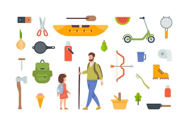 캠핑 및 하이킹 요소. 야외 모험을 위한 관광 장비 및 여행 액세서리. 흰색 바탕에 평면 벡터 개체입니다. 카약, 배낭, 도끼, 보온병, 부츠, 바구니