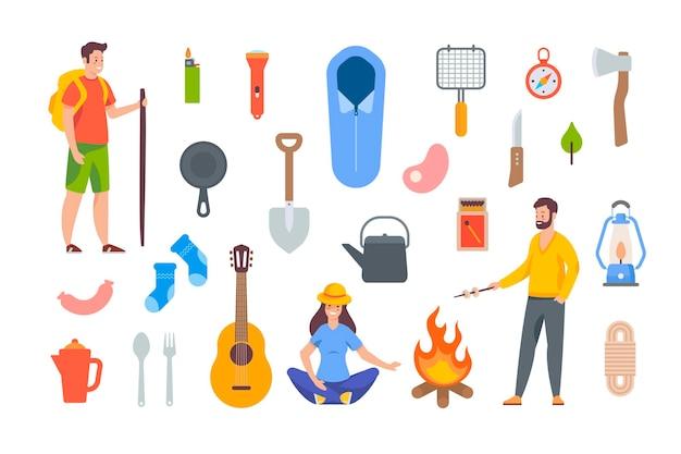 캠핑 및 하이킹 요소. 야외 모험을 위한 관광 장비 및 여행 액세서리. 흰색 바탕에 평면 벡터 개체입니다. 침낭, 불, 나침반, 냄비, 손전등, 기타, 도구
