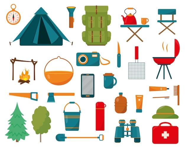 캠핑 및 하이킹 장비 세트
