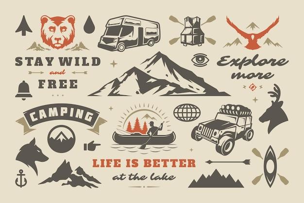 Кемпинг и набор элементов дизайна приключений на открытом воздухе, цитаты и векторные иллюстрации значков. горы, дикие животные и прочее. подходит для футболок, кружек, поздравительных открыток, фото наложений и постеров.