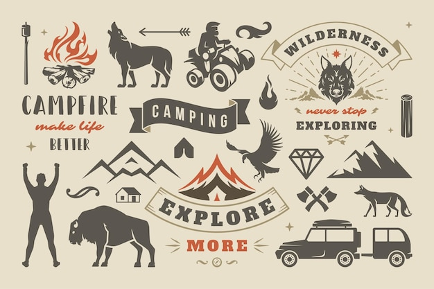 캠핑 및 야외 모험 디자인 요소 집합, 따옴표 및 아이콘 벡터 일러스트 레이 션. 산, 야생 동물 및 기타. 티셔츠, 머그, 연하장, 사진 오버레이 및 포스터에 적합