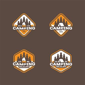 キャンプやアウトドアアドベンチャーのレトロなロゴ、バッジ。