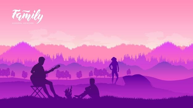 Кемпинг и палатка зернистая картина под лесом на закате