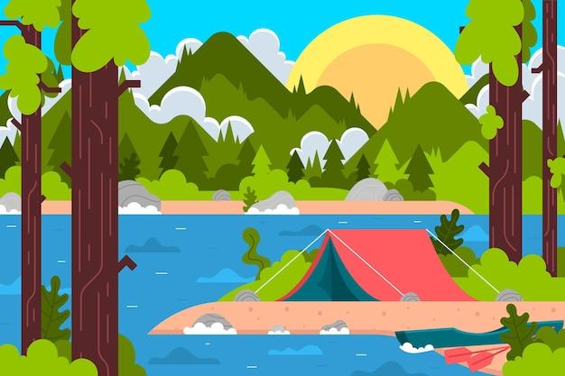 캠핑 지역 풍경 개념