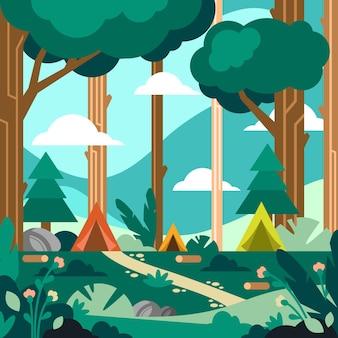 Concetto di paesaggio di area di campeggio