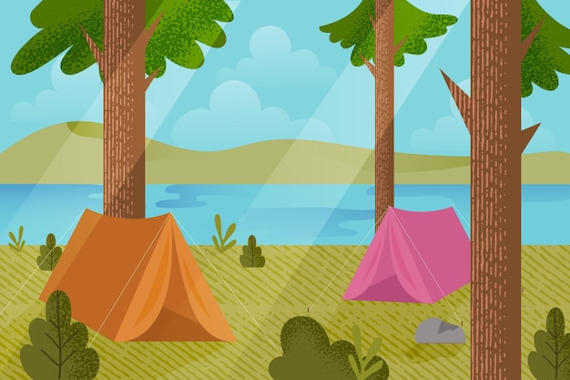 Camping area landscape illustration with tents and forest