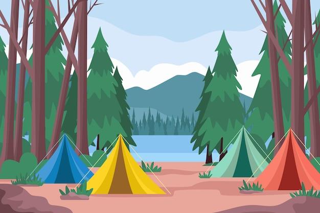 Illustrazione di paesaggio di area di campeggio con tende e foresta