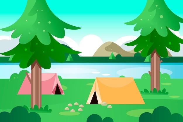 Illustrazione di paesaggio di area di campeggio con tende e lago