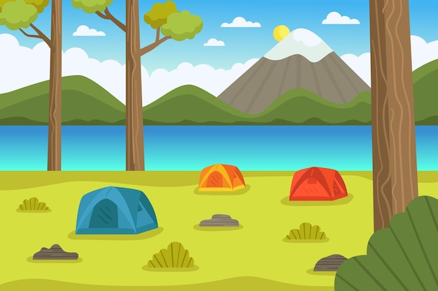 Camping area landscape illustration with tents