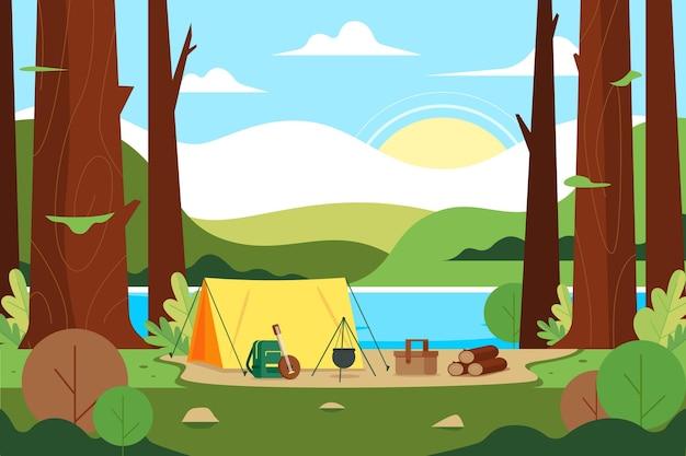 キャンプ場風景イラスト