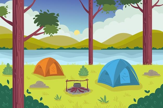 캠핑 지역 풍경 그림