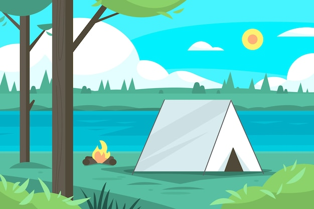 Camping area landscape illustration