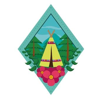 Кемпинг в лесу с палаткой на символе ромба