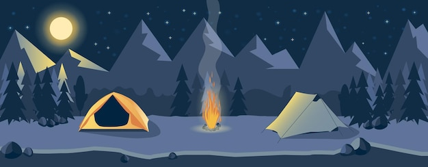 강 근처 산에서 밤에 캠핑. 산 풍경입니다. 야외 활동.