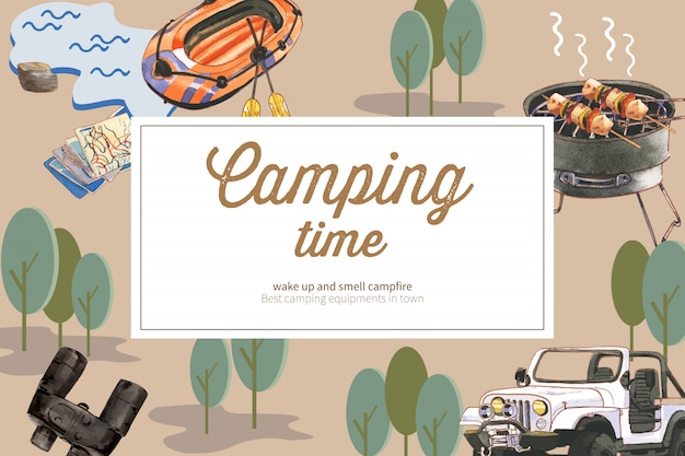Camping background with boat, binoculars and canned food, car illustrations.