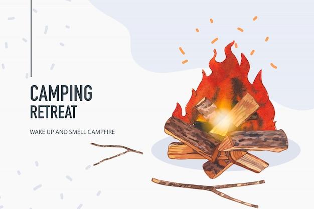 キャンプファイヤーのイラストとキャンプの背景。