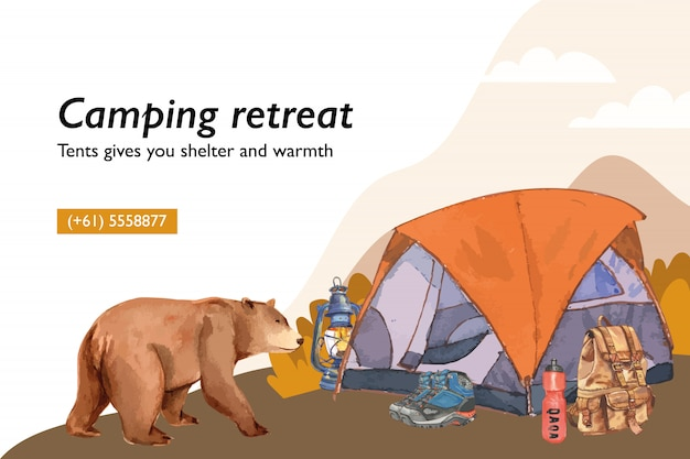 Camping background  with tent, lantern, boot, backpack and flask  illustrations.