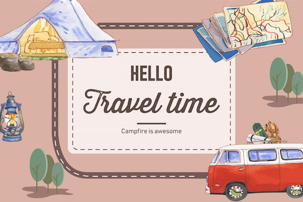 Camping background  with tent, van, map, kettle and backpack  illustrations.