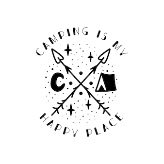 캠핑 배지 디자인입니다. 텐트, luna 및 인용문이 있는 캠핑 문장 로고 - 캠핑은 나의 행복한 장소입니다. 여행 레이블이 분리되었습니다. 신성한 기하학. 스톡 문신 그래픽 엠블럼,