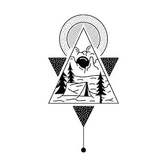 캠핑 배지 디자인입니다. 산 장면이 있는 야외 모험 문장 로고. 여행 실루엣 레이블이 분리되었습니다. 신성한 밀교 기하학. 재고 문신 그래픽 엠블럼.