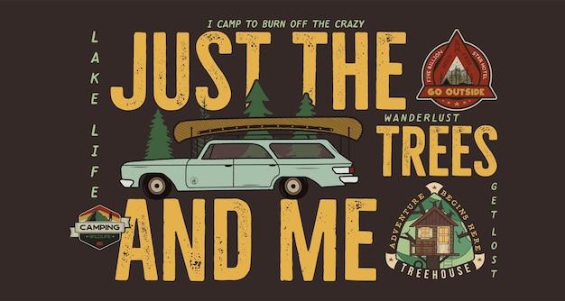 キャンプバッジのデザイン。キャンプ旅行の引用フレーズとアウトドアアドベンチャーのロゴ。図。