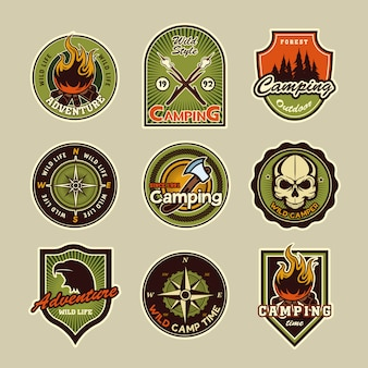 Camping badges set