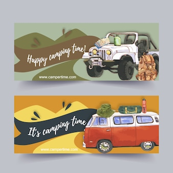 Camping banner with  illustrations.