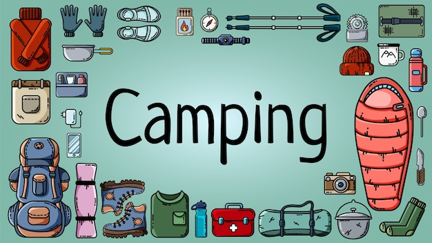 Camping banner with set of tourist items