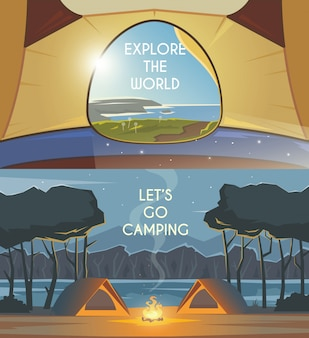 Camping banners.