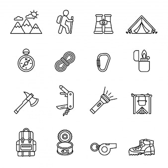 Camping black thin line icon set