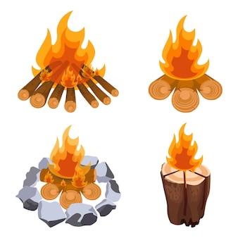 캠핑 모닥불 세트, 나무 줄기와 목재가 있는 모닥불, 흰색 배경에 격리된 돌 벡터 삽화로 둘러싸여 있습니다. 장작불에 타는 불꽃