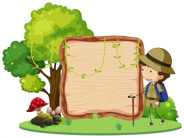 A camping boy banner