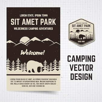 Camping brochure and label.