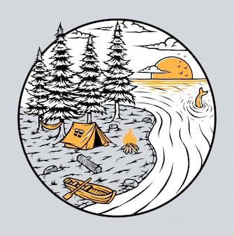 湖のイラストでキャンプ
