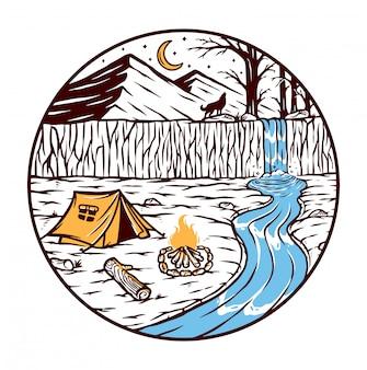 Кемпинг у реки иллюстрации