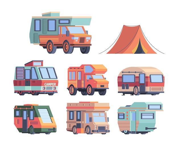 Кемпинговая машина. караванеры поездка исследователь транспорт вектор коллекция грузовиков. иллюстрация кемпинговый исследователь, лагерь для грузовиков для экспедиции и туризма