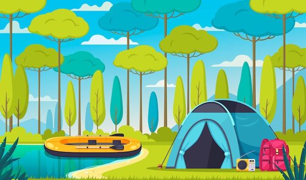 숲에서 텐트 보트 라디오 배낭과 캠핑 만화 구성