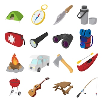 Camping cartoon icons isolated